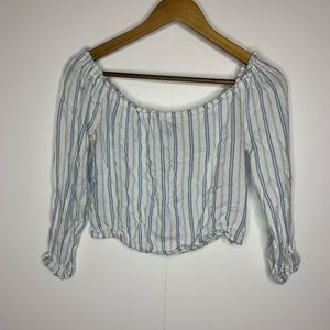 Divided by H&M White & Blue Striped Crop Top